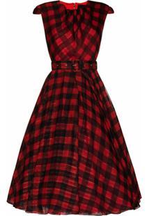 Anouki Vestido De Chiffon Xadrez - Vermelho