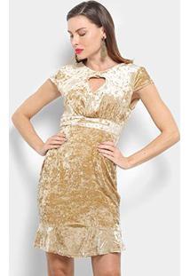 Vestido Pérola Evasê Curto Veludo Decote - Feminino-Bege