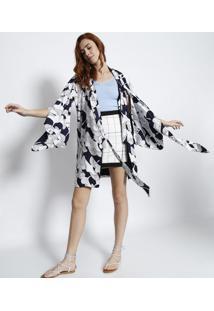 Kimono Com Linho Pã¡Ssaros- Branco & Azul Marinholez A Lez