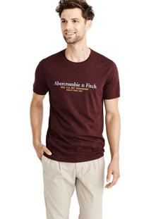 Camiseta Manga Curta Abercrombie Gráfica Vinho
