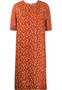 Marni Vestido Reto Com Estampa Floral - Laranja
