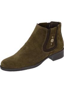 Botina Chelsea Boots Feminina 2464 Couro Camurça Verde Musgo