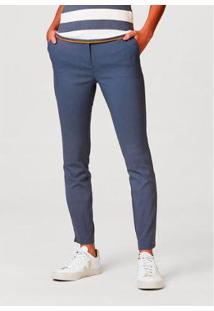 Calça Básica Alfaiataria Feminina - Feminino-Azul