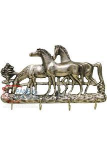 Porta Chaves Três Cavalos Em Bronze