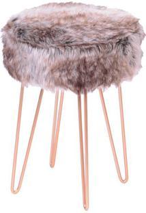 Puff Glamour- Mescla & Rosê Gold- 40Xø28Cmor Design