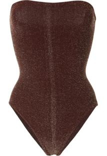 Hunza G Audrey Ribbed Swimsuit - Marrom