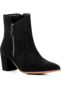 Bota Cano Curto Couro Shoestock London Feminina - Feminino-Preto