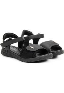 Sandália Comfortflex Papete Velcro Feminina - Feminino-Preto+Dourado