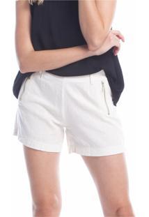 Shorts Tecido Ralm Linho Off-White