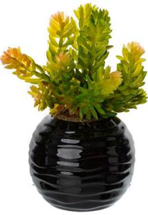 Vaso Com Suculenta Artificial Preto
