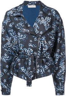 Fleur Du Mal Jaqueta Floral De Seda Com Zíper - Blue Jasmine