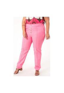 Calça Lisa Jogger Linho Plus Size Rosa