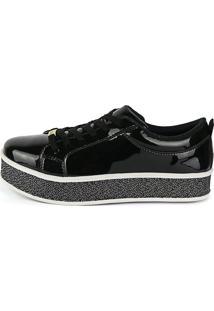 Tênis Sapatênis Casual Cr Shoes Envernizado Preto
