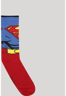 Meia Masculina Cano Alto Divertida Super Homem Vermelha