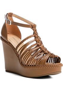 Sandália Anabela Shoestock Trança Feminina - Feminino-Nude