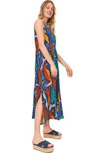 Vestido Cantão Midi Crescente Azul-Marinho