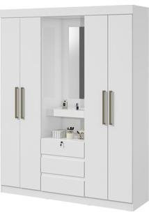 Guarda-Roupa Gafieira Com Espelho - 4 Portas - Branco