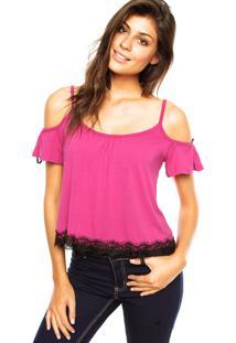 Blusa Ciganinha Fiveblu Renda Rosa
