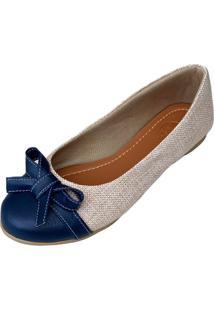 Sapatilha Likka Calçados Bico Redondo E Azul - Kanui