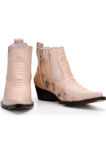 Bota Texana Country Capelli Boots Em Couro Com Bico Fino E Cano Curto Masculina - Masculino