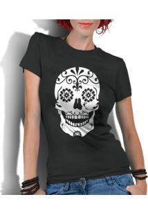 Camiseta Criativa Urbana Caveira Mexicana Flores Preto