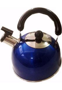 Chaleira Em Aço Inox Com Apito - Azul
