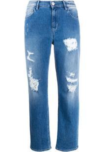 Twin-Set Calça Jeans Boyfriend Com Detalhes Destroyed - Azul