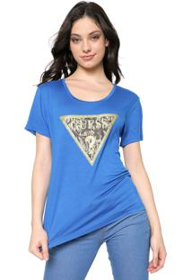 Blusa Guess Logo Onça Azul
