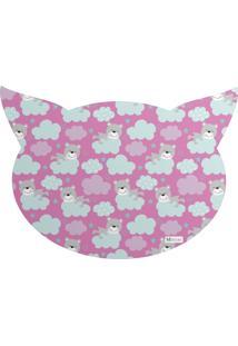 Tapete Pet Mdecore Cabeça De Gato Urso Pink 54X39Cm