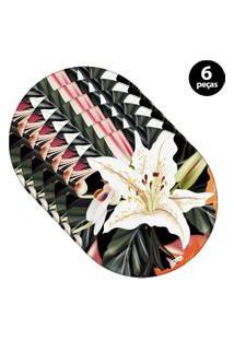 Capa Para Sousplat Mdecore Floral Roxo 6Pçs