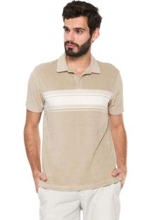 Camisa Polo Banana Republic Standard Fit Listra Bege