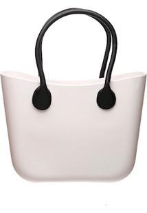 Bolsa Silicone Maxi Bicolor Branca Com Alças Preta Fixada E Sem Fecho