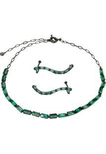 Conjunto Infine Choker E Brincos Ear Cuff Cristal Verde Turmalina - Verde - Feminino - Dafiti