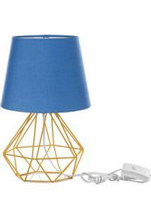 Abajur Diamante Dome Azul Com Aramado Amarelo - Azul - Dafiti