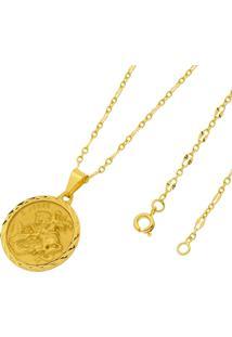 Pingente São Jorge Com Corrente Folheado A Ouro 18K Tudo Jóias Modelo Francesa Dourada