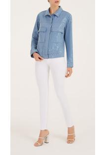 Jaqueta Iodice Classica Detalhe Paetê Jeans
