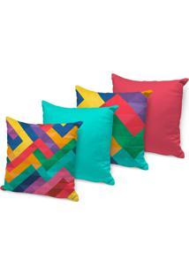 Kit 4 Capas Para Almofadas Decorativas Geométricos Coloridos 45X45Cm, - Kanui