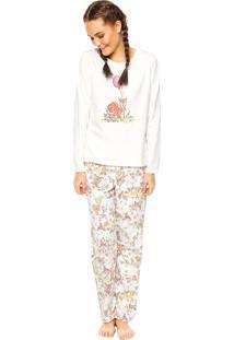 Pijama Cor Com Amor Raposa Off-White
