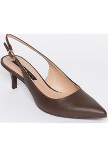 Sapato Chanel Em Couro Texturizado - Marrom Escuro -Jorge Bischoff