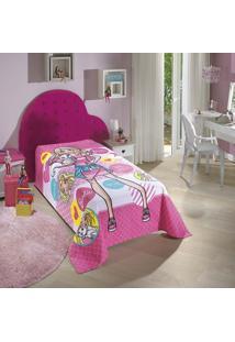 Colcha Solteiro Barbie 01 Peça 160X220Cm - Dohler Rosa