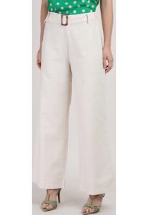 Calça Feminina Pantalona Cintura Alta Com Cinto Off White
