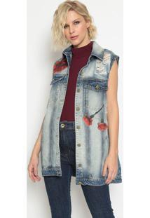 Colete Jeans Rosas - Azul & Vermelho - Lanã§A Perfumelanã§A Perfume