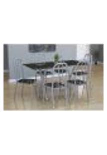 Conjunto De Mesa Miame Com 6 Cadeiras Madri Branco Prata E Preto Floral