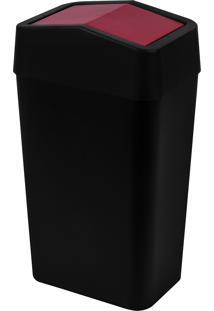 Lixeira Com Tampa Basculante Astra Ltb1 Pr-Brd 8 Litros Preta/Bordô