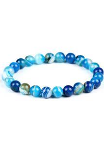 Pulseira Decovian Contas De Pedras Azul