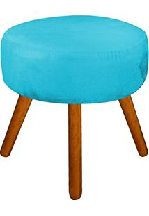 Puff Decorativo Angel Redondo Suede Azul Tiffany - D'Rossi