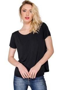 Blusa T- Shirt Básica Lucidez - Feminino-Preto