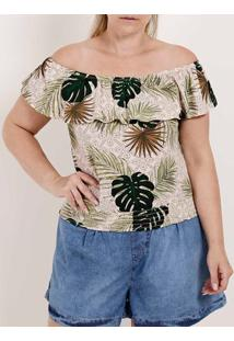 Blusa Ciganinha Plus Size Feminina Autentique Bege/Verde