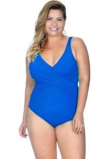 Maiô Plus Size Transpassado Com Bojo Removível Agridoce Feminino - Feminino-Azul