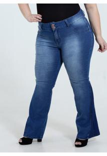 4e97725923200f Marisa Calça Feminina Jeans Flare Plus Size Marisa
